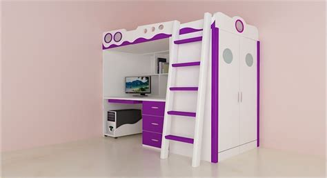 get modern complete home interior with 20 years durability joyce bunk bed cum wardrobe