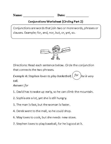 circling conjunctions worksheet writing