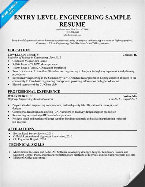 Entry Level Engineering Sample Resume (resumecompanioncom