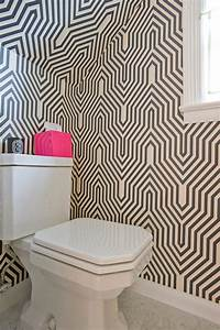Geometric wallpaper contemporary bathroom donna for Kitchen colors with white cabinets with derouleur papier wc