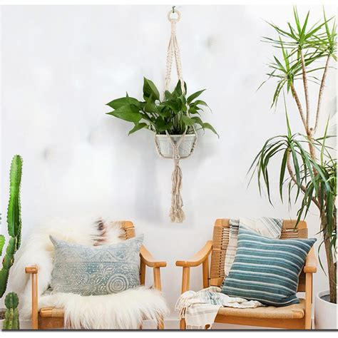 These appealing boho wall decor arts are full of colors, have the delightful mixture of different patterns and material. Boho Home Decor Wall Tapestry Macrame Plant Hanger Handmade Knitting Hanging Basket Wall ...