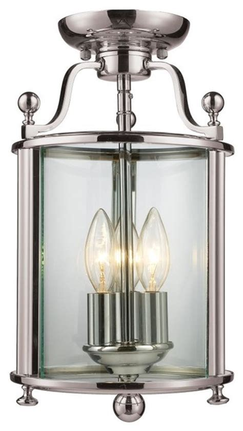 Clearly Modern Semi Flush Ceiling Light by Three Light Brushed Nickel Clear Glass Cage Semi Flush