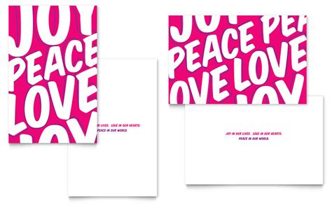 peace love joy greeting card template word publisher