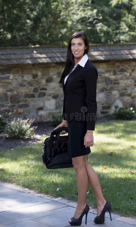 Stunning Brunette Business Woman Outside Stock Photo