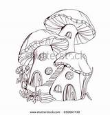 Mushroom Fairy Coloring Houses Tale Illustration Shutterstock Drawing Drawings Village Cartoon Fairies Vector Pencil Royalty Visit Illustrations sketch template