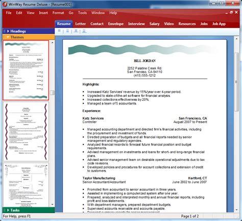 winway resume deluxe 14 winway resume software