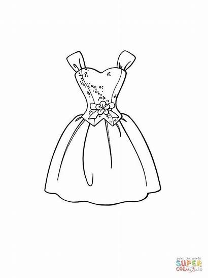 Coloring Pages Dresses Printable Designs Drawings Drawing
