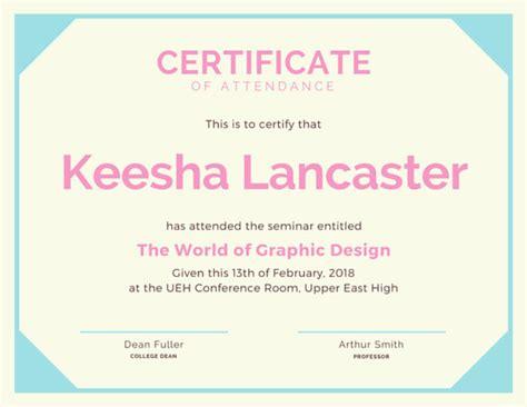 orange attendance certificate templates  canva
