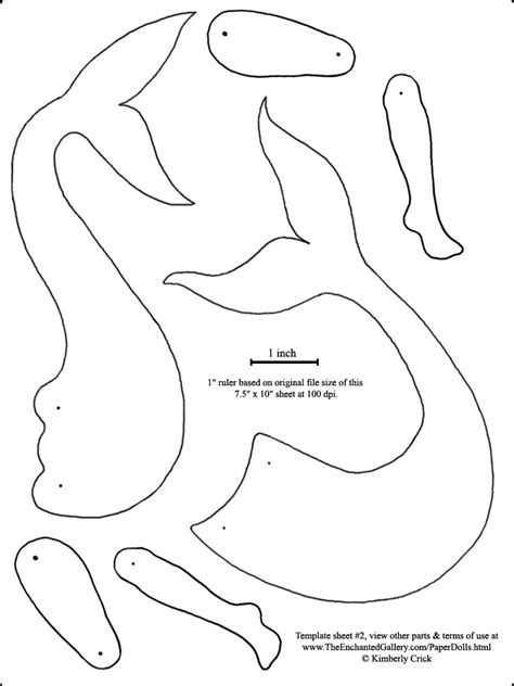 Mermaid Template Mermaid Tails Doll Template Paper Print Cut Out Decorate