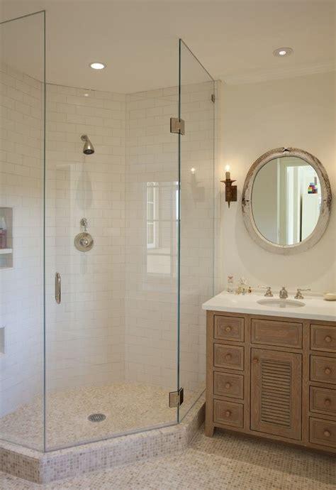 corner shaped walk  shower design ideal  small