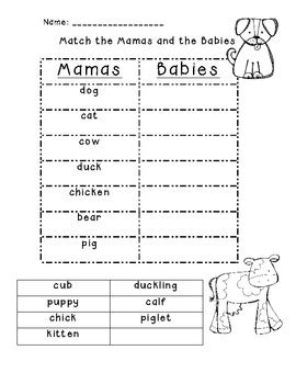 mamas and babies adult and baby animal match up by