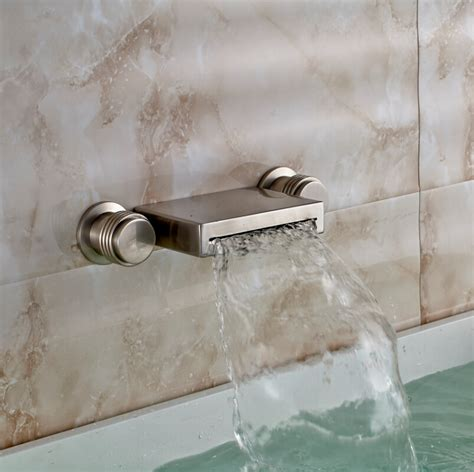 brushed nickel brass bathroom vessel sink faucet wall mounted waterfall basin faucet tap home in