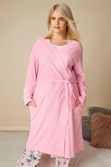 Robe De Chambre Rose Texturée En Coton Avec Poches, Taille