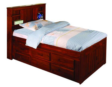 Captains Bed With 6 Drawers by Merlot Captains Bed 6 Drawer Storage Bookcase
