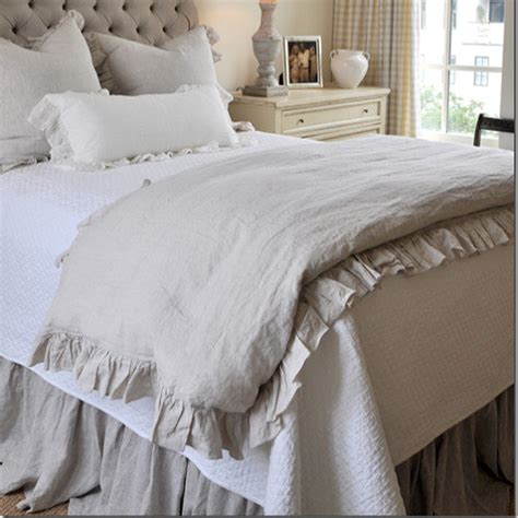 2018 french ruffled linen duvet cover king size flax linen