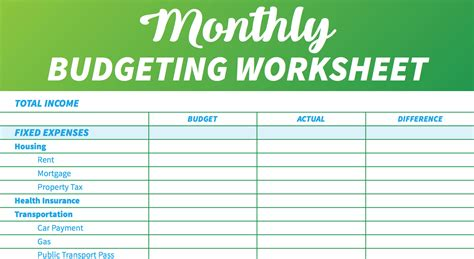 simple monthly budget template     love