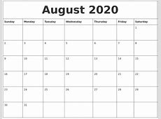 August 2020 Calendar Pages