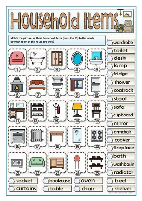 household items vocabulary vocabulary learning
