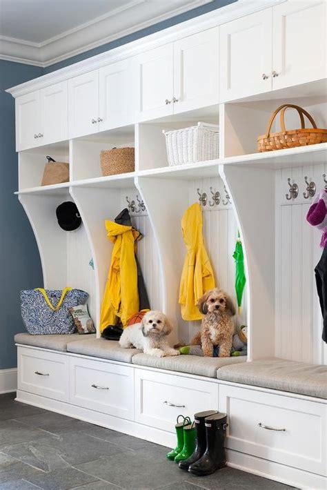 gray mudroom  wainscot trim transitional laundry room