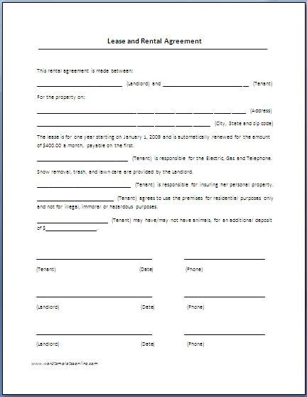 rental agreement template word lease agreement template printable templates