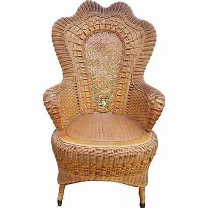 Fancy Chair Wicker Arm Victorian Antique Circa