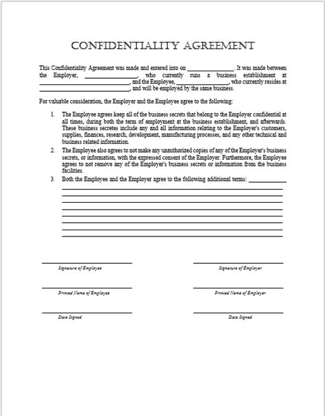disclosure agreement templates  ms word