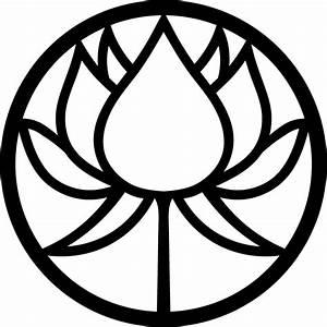 Circle Lotus Flower Silhouette Free Vector Pattern