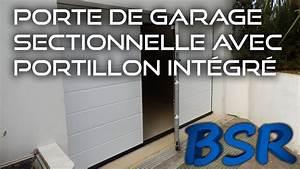 Porte de garage sectionnelle avec portillon integre youtube for Largeur porte garage double