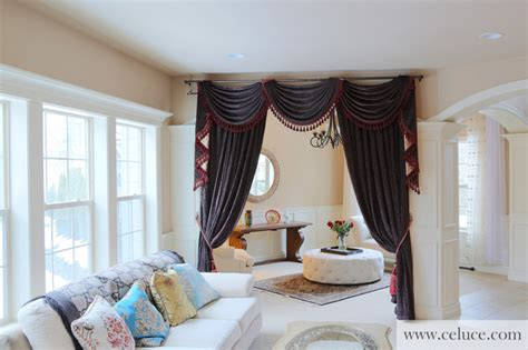 flip pole swag valance curtains traditional living