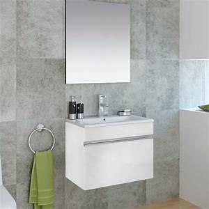 Meuble salle de bain 60 cm avec miroir cubo for Meuble glace salle de bain