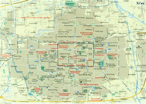 xian city map map  xian china xian travel map