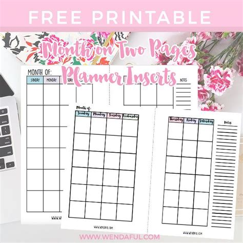 undated month   pages planner inserts monthly