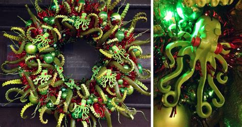 completed  cthulhu themed christmas wreath