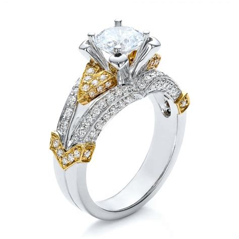 Twotone Gold And Diamond Engagement Ring  Vanna K #100273. 20 Carat Wedding Rings. Turquoise Stone Rings. Partner Wedding Rings. Busy Engagement Rings. Traditional Wedding Rings. Firefighter Rings. Faerie Wedding Rings. Pippa Middleton Engagement Rings