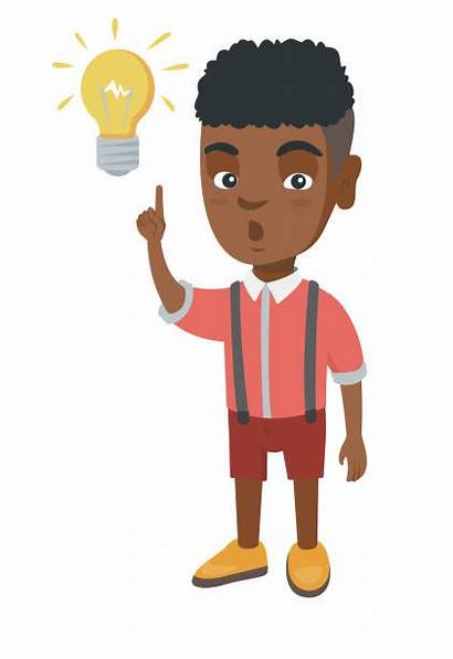 Boy African Pointing Clipart Vector Lightbulb Thinking