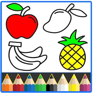 fruits coloring game drawing book kids game  pc
