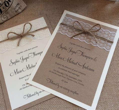 shabby chic wedding invitation templates 1 vintage shabby chic sophie wedding invitation with lace and twine ebay