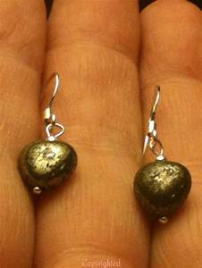 925 Sterling Silver PETITE Handmade Natural Pyrite Heart