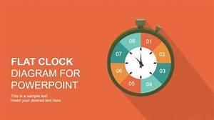 Flat Analog Clock Diagram Powerpoint Template