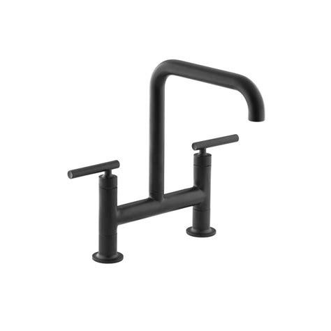black kitchen faucet kohler purist 2 handle bridge kitchen faucet in matte