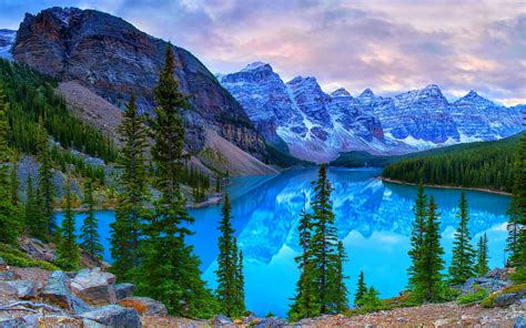 Beautiful Sceneries Of Nature For Wallpaper Canada Parks Mountains Lake Scenery Moraine Lake Banff Fir Nature 407089 Wallpapers13 Com