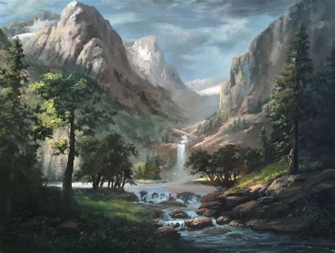 sunlit mountain pass oil painting  kevin hill