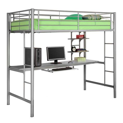 twin metal loft bed with desk metal twin over writing computer desk bunk bed silver