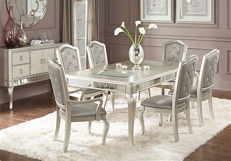 paris silver  pc dining room rectangle contemporary