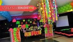 Bright Neon Theme Birthday Party Invitations