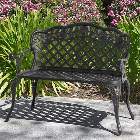 Outdoor Bench by Patio Garden Bench Cast Aluminum Outdoor Garden Yard Solid