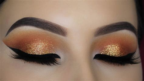 warm orange glitter eye makeup tutorial youtube