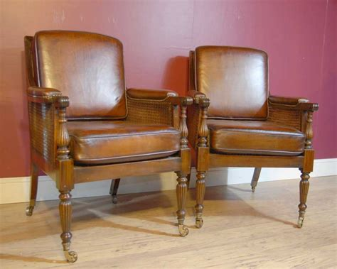 Pair French Regency Bergere Chairs Leather Arm Chair