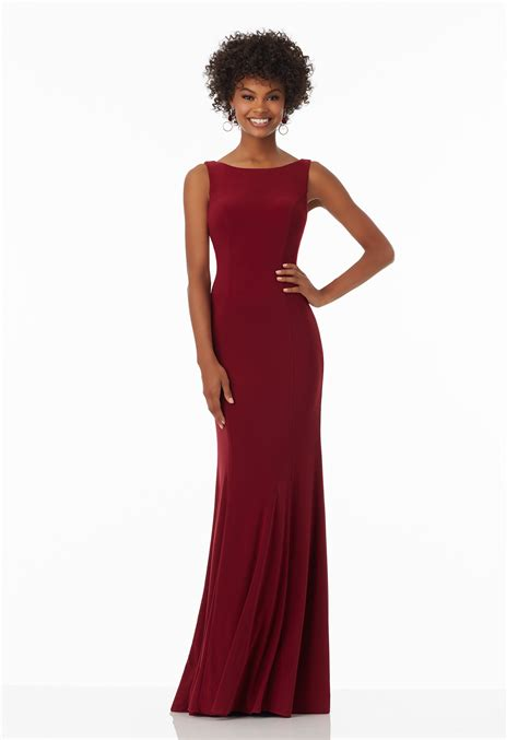 fitted jersey prom dress  criss cross detail style