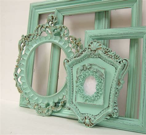 green shabby chic shabby chic frames pastel mint green from mountaincoveantiques on
